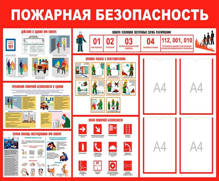 Информационный стенд пожарная безопасность с карманами