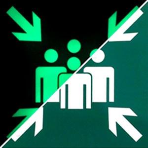 Фотолюминесцентный эвакуационный знак  Место сбора ФЭС E 21