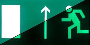 Знак эвакуации Направление к эвакуационному выходу прямо левосторонний E 12