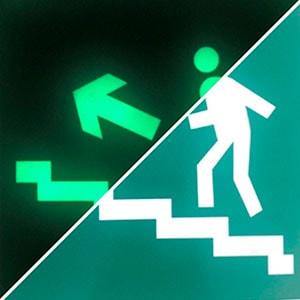 Эвакуационный знак  Направление к эв. выходу по лестнице вверх (лев)  ФЭС E 16