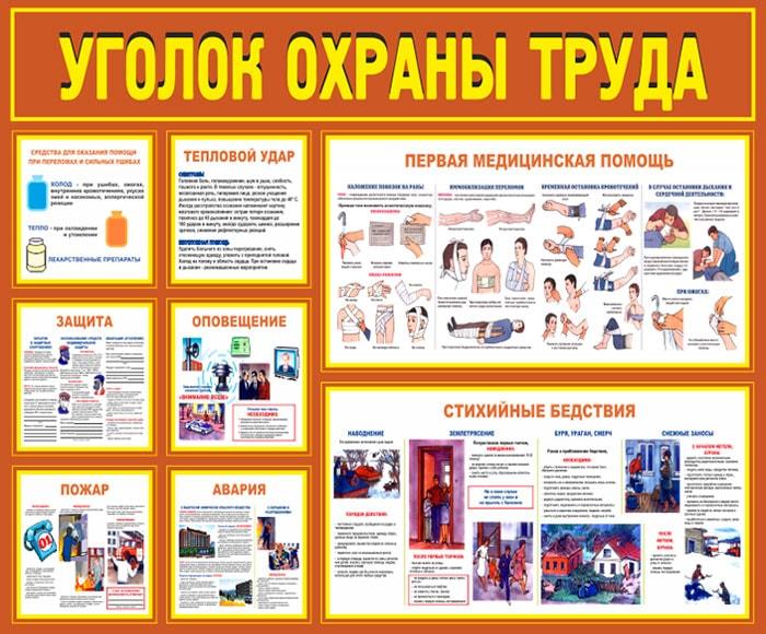 Уголок по охране труда 8 плакатов