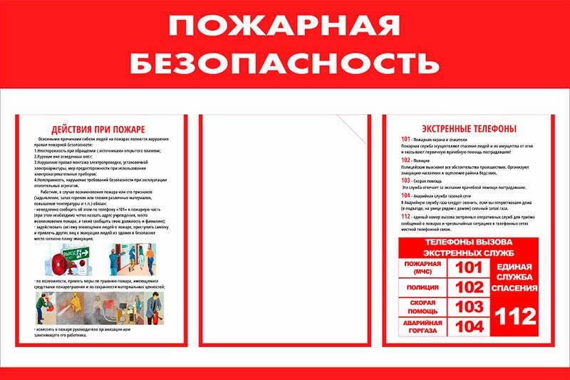 Стенд пожарная безопасность информационный