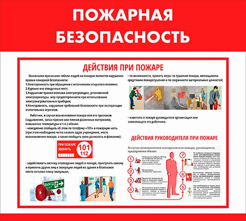 Стенд пожарная безопасность информационный одноблочный А3