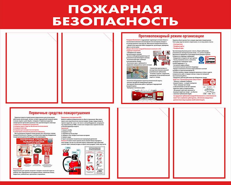Стенд пожарной безопасности информационный с карманами // 100х80см // №4