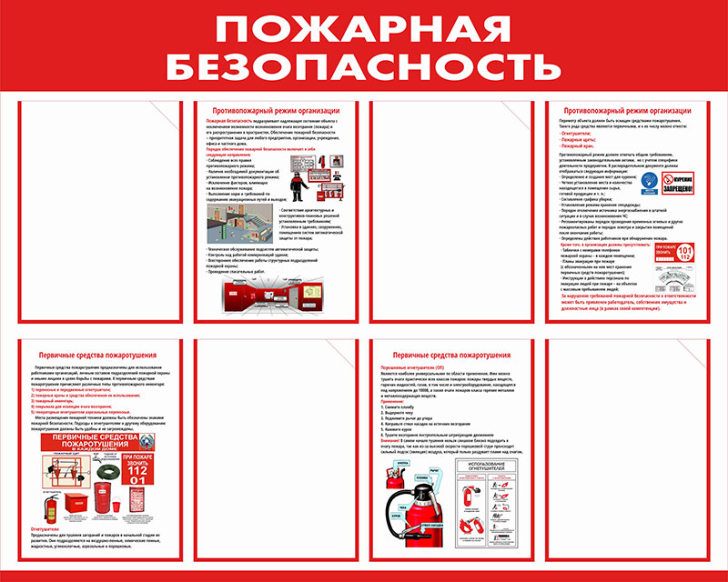 Стенд пожарной безопасности информационный с карманами // 100х80см // №5