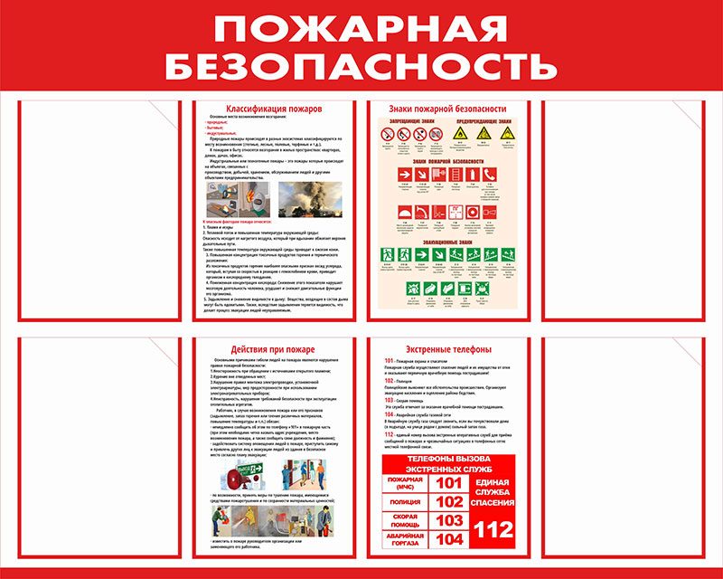 Стенд пожарной безопасности информационный с карманами // 100х80см // №6