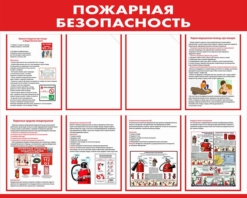 Стенд пожарной безопасности информационный с карманами // 100х80см // №7