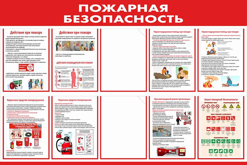 Стенд пожарной безопасности информационный с карманами // 120х80см // №4