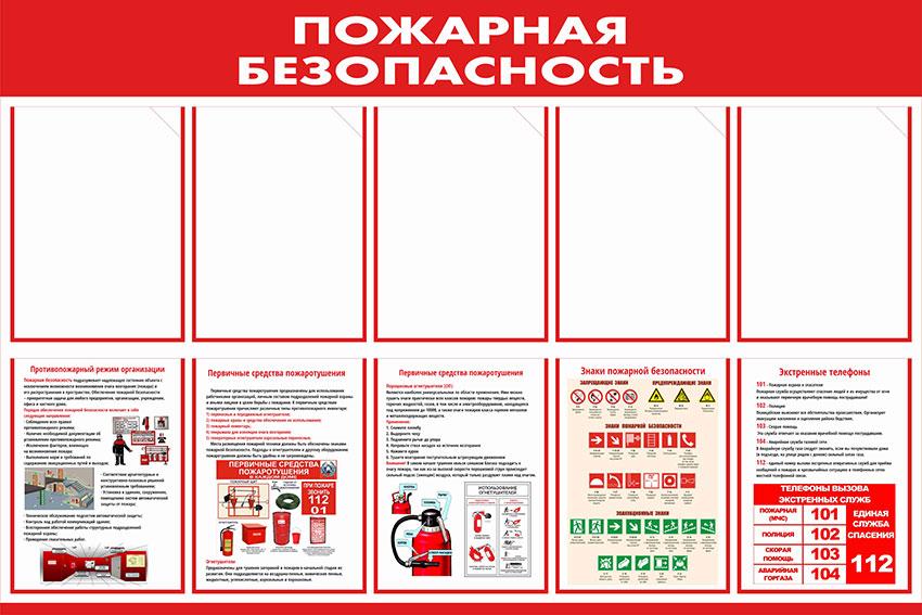 Стенд пожарной безопасности информационный с карманами // 120х80см // №5