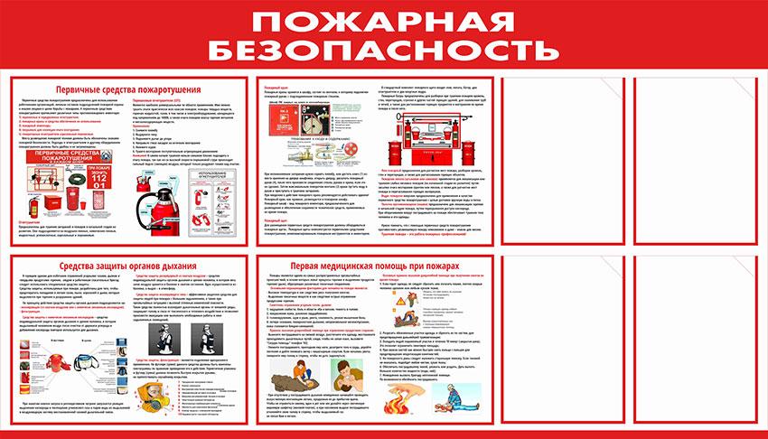 Стенд пожарной безопасности информационный с карманами // 140х80см // №1