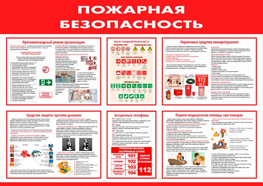 Стенд пожарной безопасности информационный // 120х85см // №1