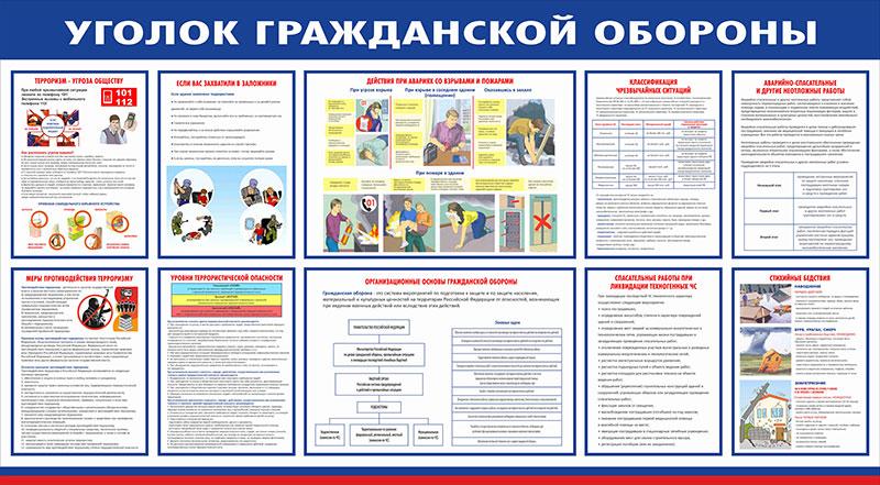 Стенд уголок ГО и ЧС  // 145х80см // №1