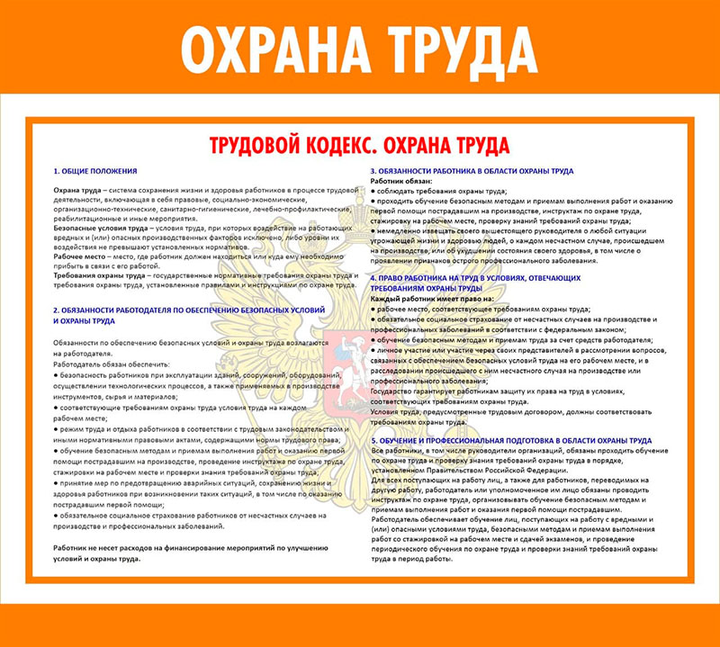 Стенд охрана труда // 50х45см // №1