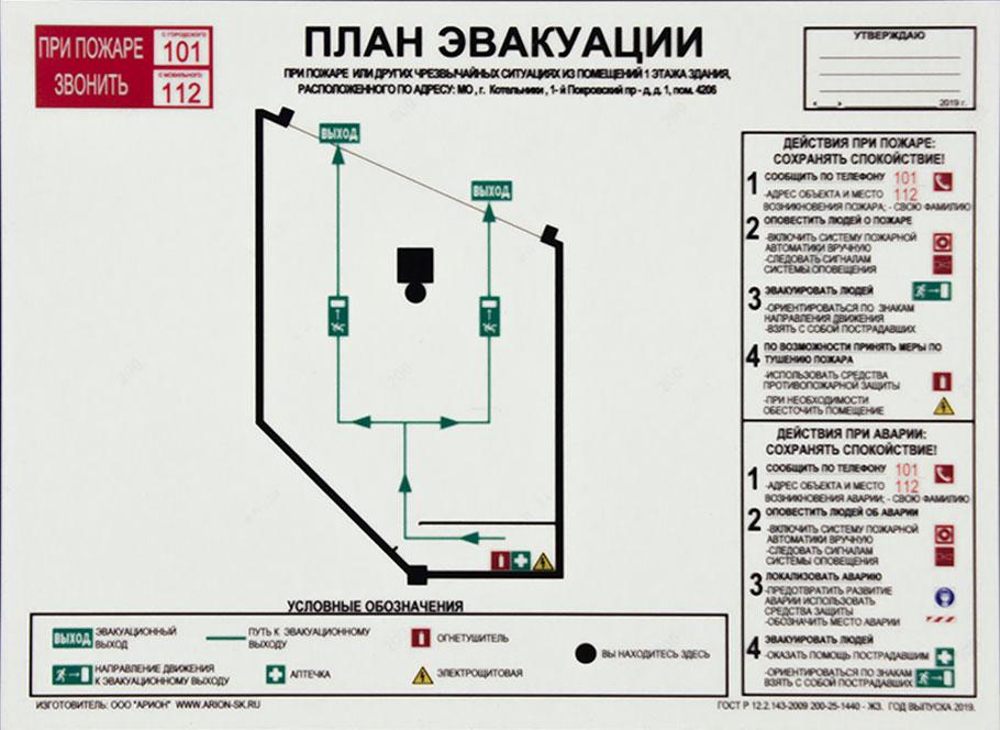 План эвакуации при пожаре Базовый формат А3